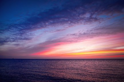 sea, sunrise, sky