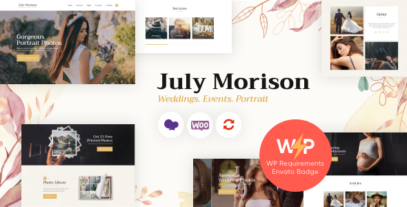 July Morison   An Alluring Event Photographer's Portfolio & Blog WordPress Theme