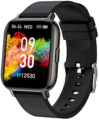 Smart Watch for Men Women, Fitness Tracker 1.69 Full Touch Screen Smartwatch with Heart Rate Monitor, Sleep Monitor IP68 Waterproof Pedometer Activity Tracker Fitness Watch for Android Phones Black