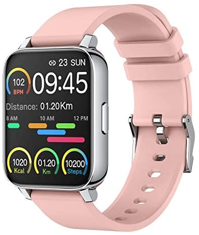 Smart Watch for Women 1.69″ Touch Screen Fitness Tracker Watch IP67 Waterproof Smartwatch with Heart Rate and Sleep Monitor, Step Counter Sport Running Watch for Android and iOS(Pink)