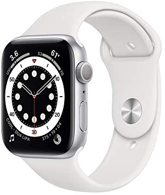 New AppleWatch Series 6 (GPS, 44mm) – Silver Aluminum Case with White Sport Band