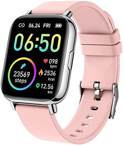 Smart Watch 2021 Ver Watches for Women, Fitness Tracker 1.69″ Touch Screen Smartwatch Fitness Watch Heart Rate Monitor, IP68 Waterproof Pedometer Activity Tracker Sleep Monitor for Android iPhone Pink
