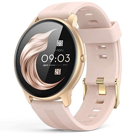 Smart Watch for Women, AGPTEK Smartwatch for Android and iOS Phones IP68 Waterproof Activity Tracker with Full Touch Color Screen Heart Rate Monitor Pedometer Sleep Monitor, Pink, LW11