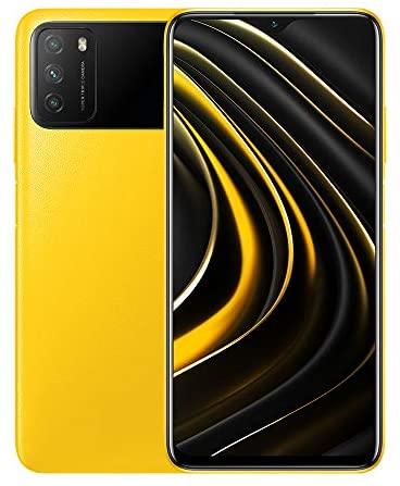 Xiaomi POCO M3 Smartphone, 4 GB + 64 GB, 6.53 Pollici FHD + Ampio 1080P FHD + Display 52 MP, Tripla Fotocamera, 6000 mAh Batteria, Doppi Altoparlanti, Jack per Cuffie da 3.5 mm, Giallo