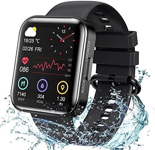KOSPET Smart Watch for Men, 1.71 inch Full Touch Screen Magic 3 Smartwatch with 20 Sports Modes, Blood Pressure Test, Heart Rate and Sleep Monitoring IP68 Waterproof Watch for Android/iOS – Black