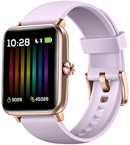 Hamile Smart Watch for Android Phones Compatible with iPhone, Fitness Watch with Heart Rate Monitor, Blood Oxygen Saturation, 1.55″ Touch Screen, 5ATM Waterproof Smart Watches for Women Men, Lavender