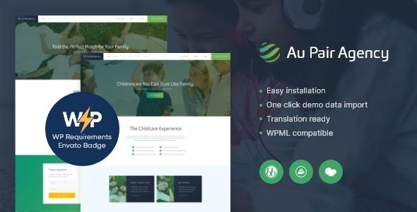 Au-Pair – Babysitting & Nanny Agency WordPress Theme